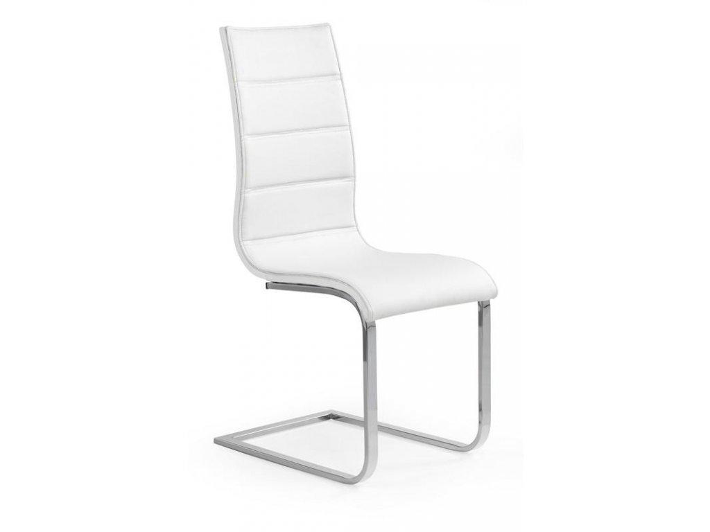 K104 stoličky biela / biela koženka