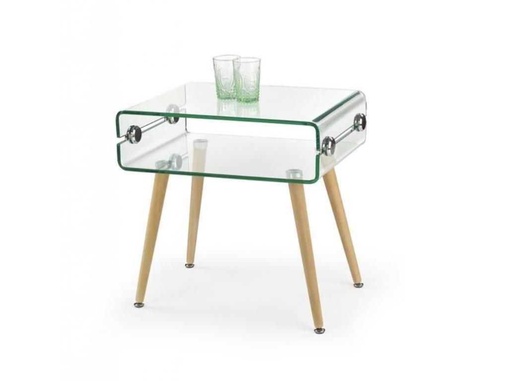 VALENCIA stolík konferenčný sklo ohýbané - Nohy: bukové