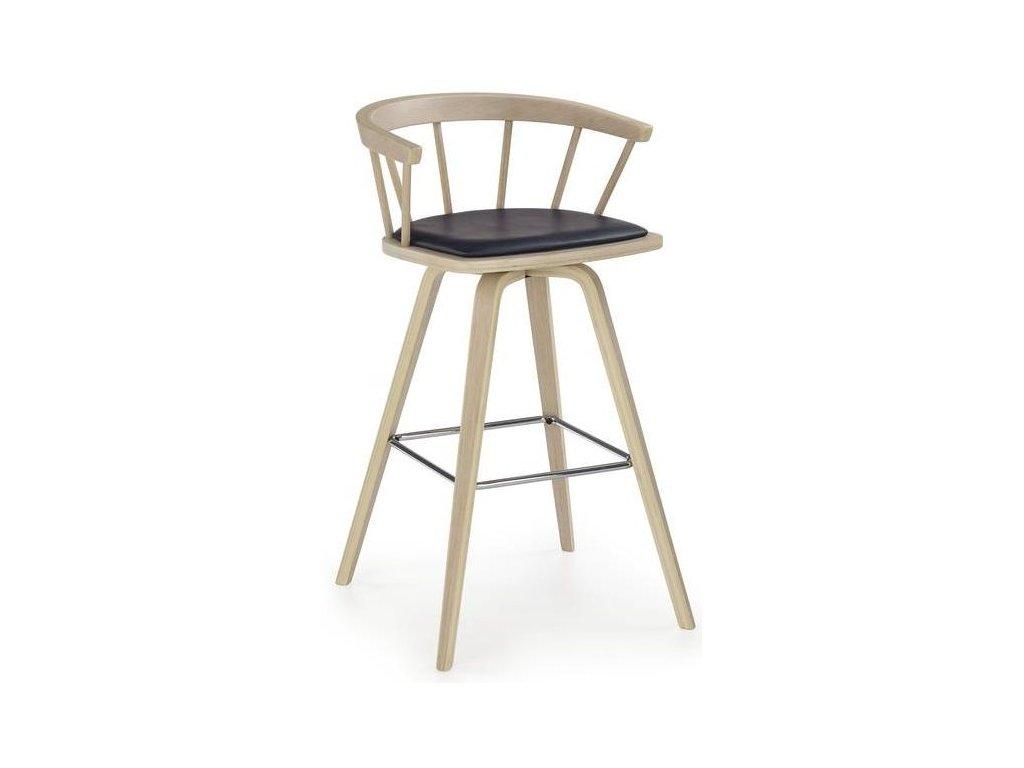 H78 barová stolička svetlý buk, čierna