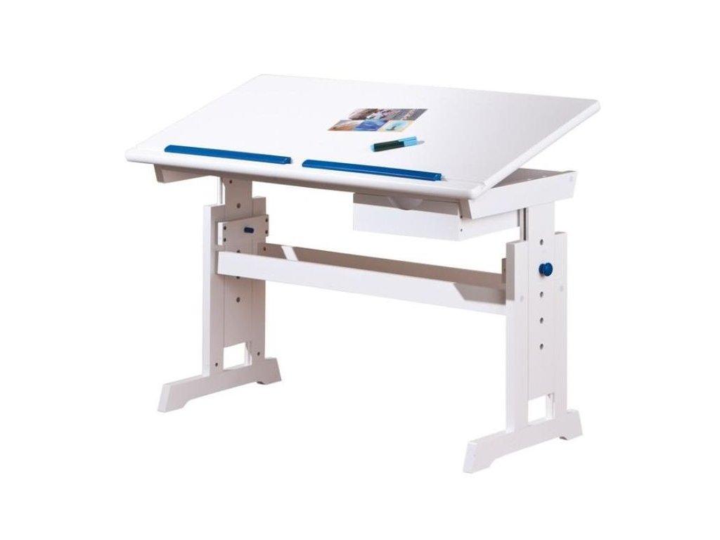 BARU písací stôl biely-ružový-modrý