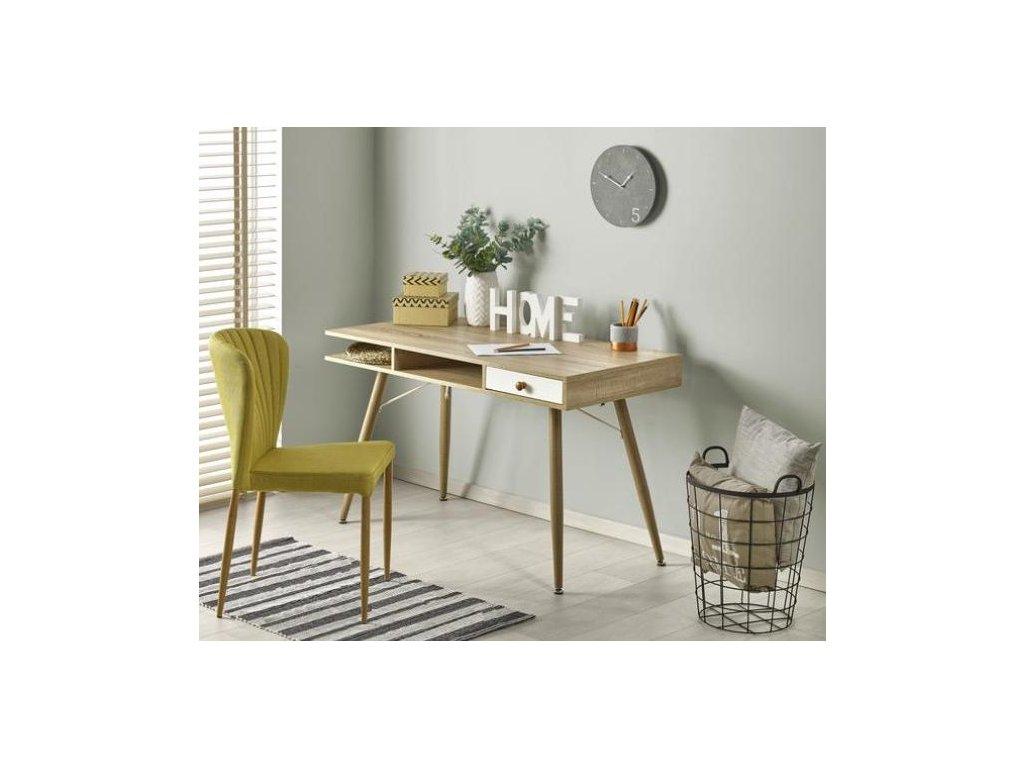 B34 písací stôl dub Sonoma-biely