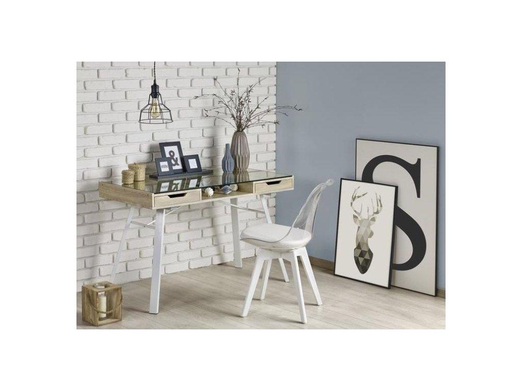 B33 písací stôl dub Sonoma-biely