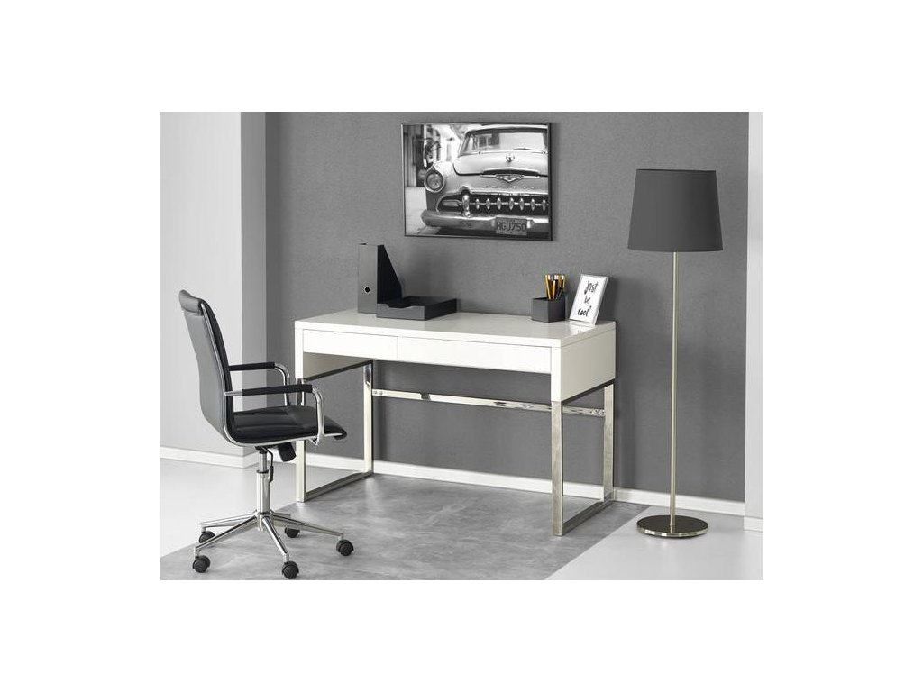 B32 písací stôl biely-chróm
