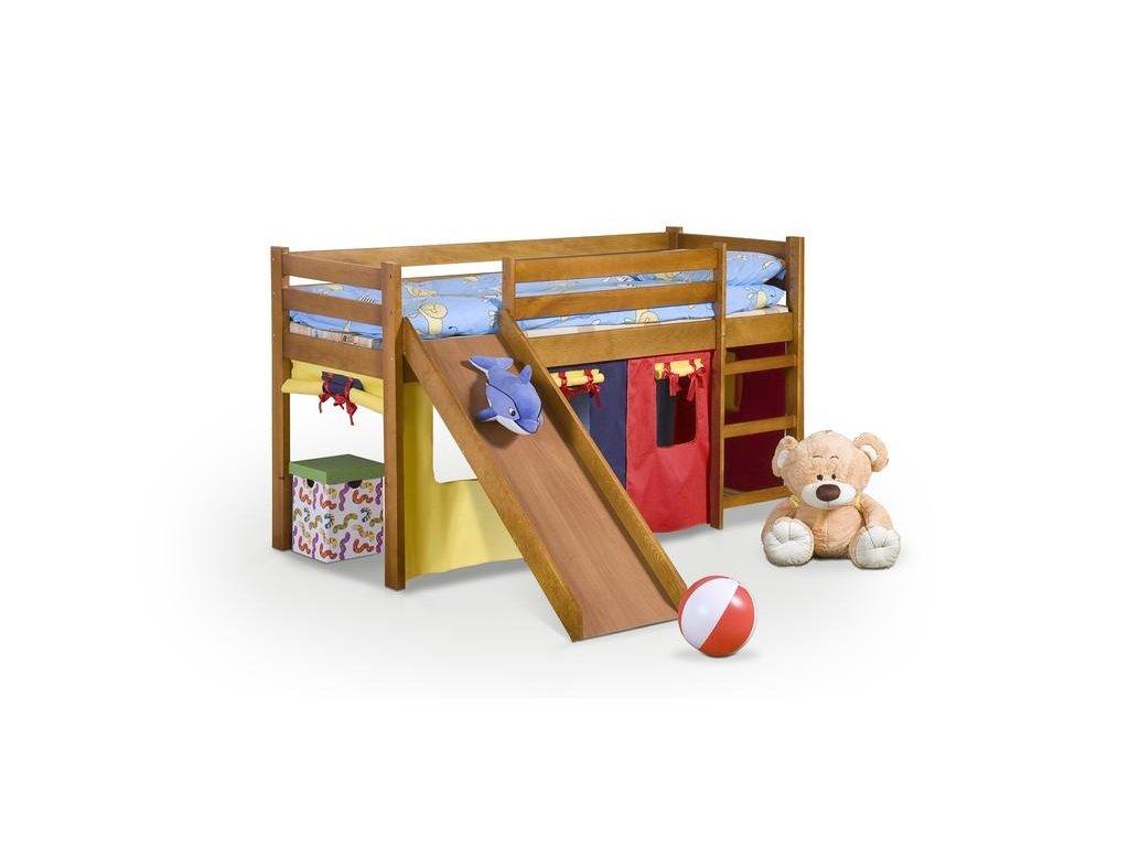 NEO PLUS - posteľ poschodová so šmýkačkou a matracov - jelša