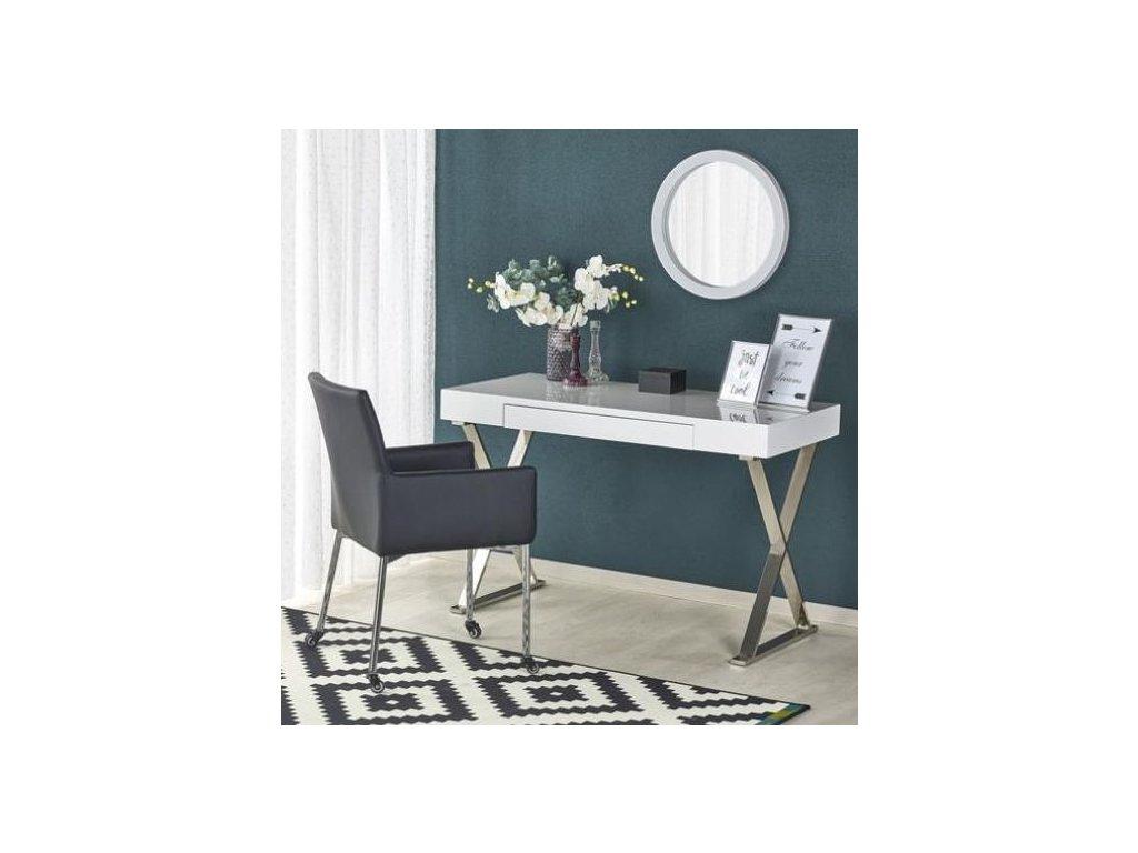 B31 písací stôl biely-chróm