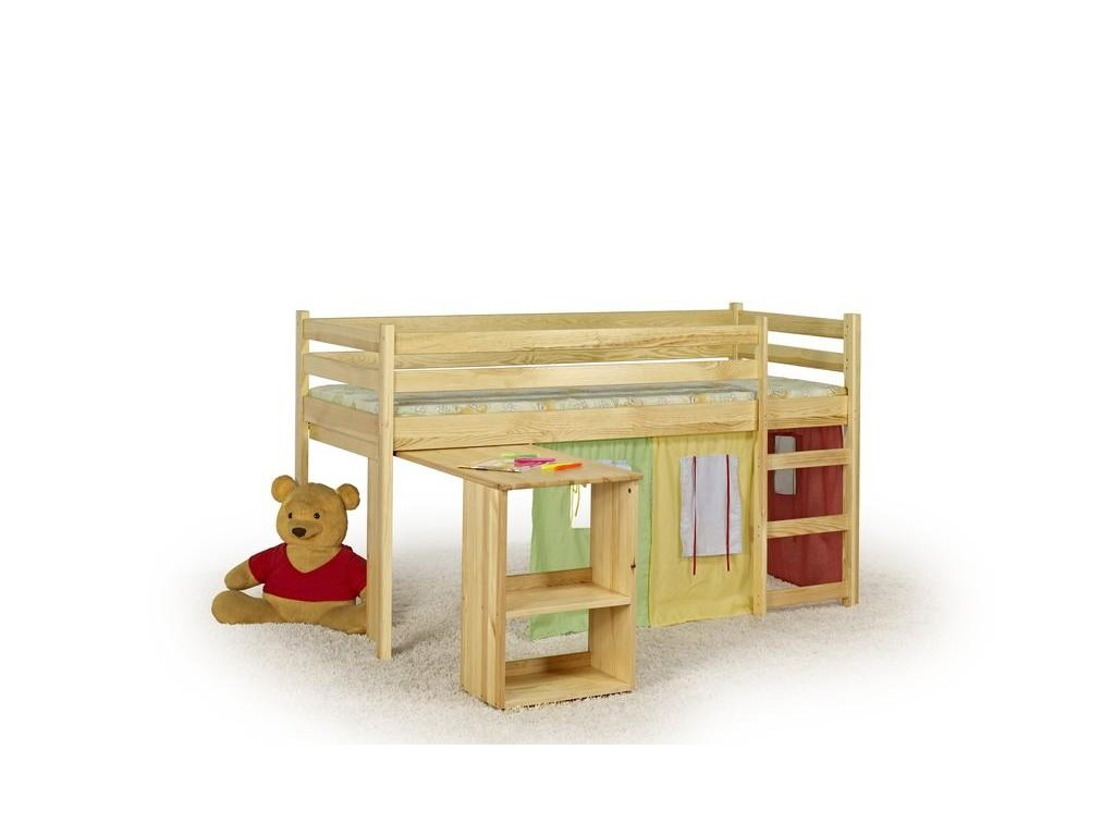 EMI - posteľ poschodová s písacím stolom a matracov - sosna