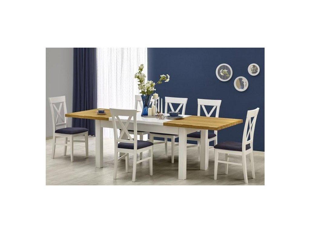 LEONARDO stôl biely / dub ťavie