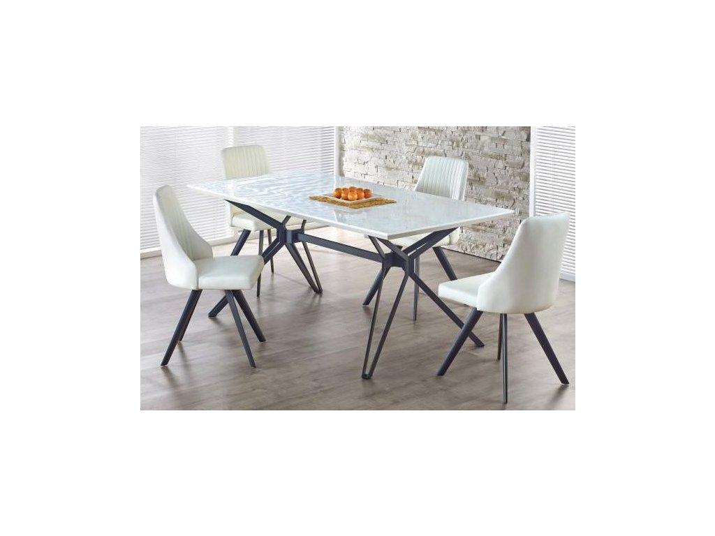 PASCAL stôl rozkladací bielo - čierny