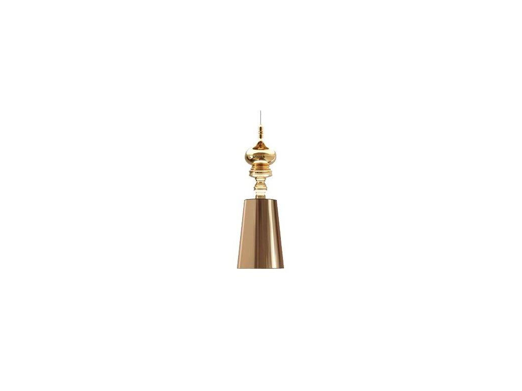 Luster - LAMPA ZÁVESNÁ QUEEN 1 GOLD ZLATO / KOV / syntetické látky / 1 tienidlami