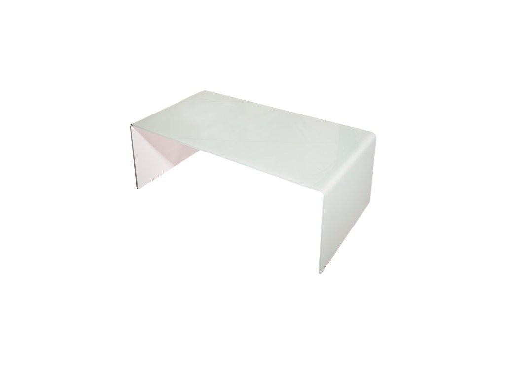 stolík sklenený PRIAM A BIELY SKLO BIELY