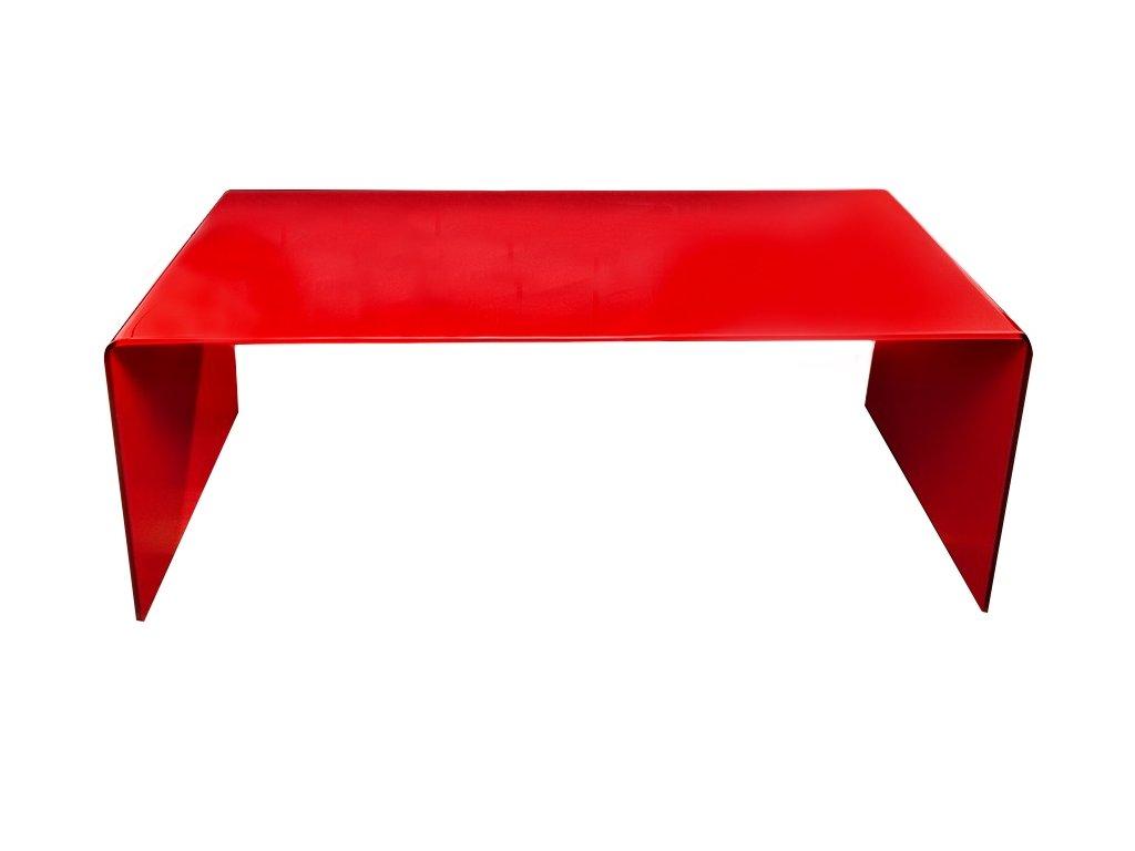 stolík sklenený PRIAM A ČERVENÝ SKLO ČERVENÝ