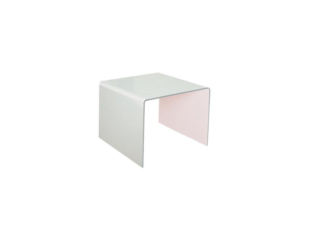 stolík sklenený PRIAM B - BIELY SKLO LAKOVANÝ