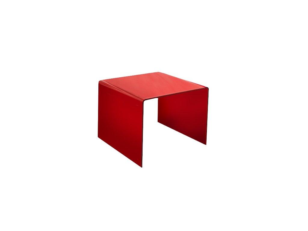 stolík sklenený PRIAM B - ČERVENÝ SKLO LAKOVANÝ