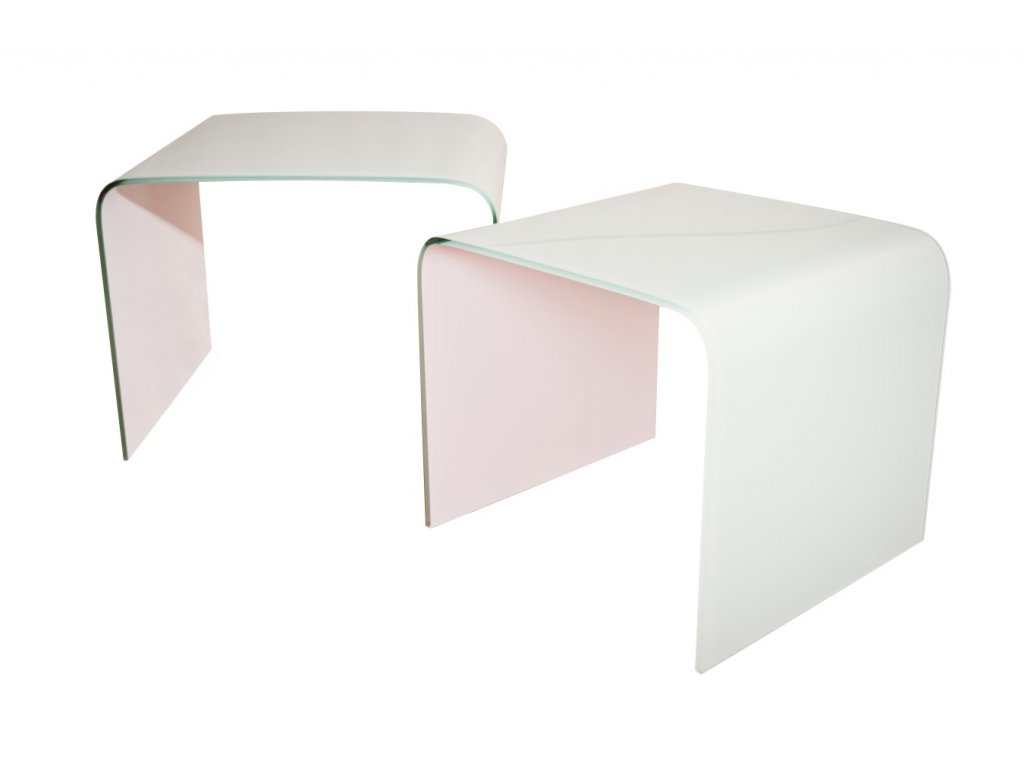 stolík sklenený PRIAM DUO BIELY