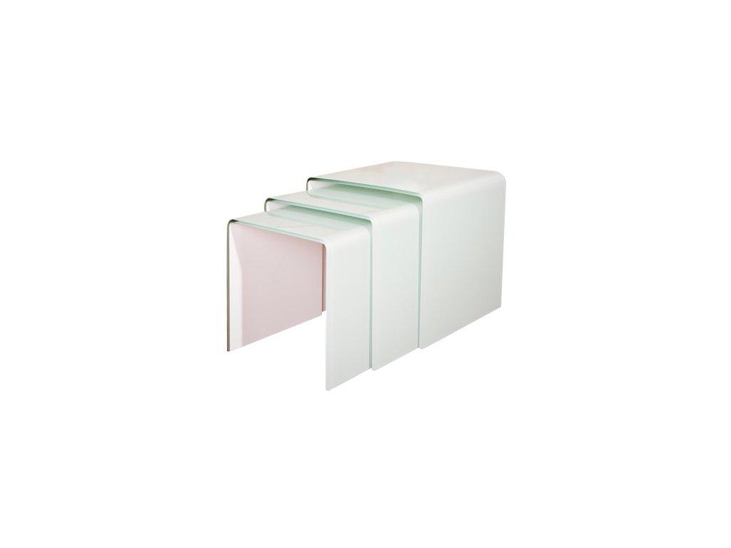 stolík sklenený PRIAM TRIO - BIELY SKLO LAKOVANÝ