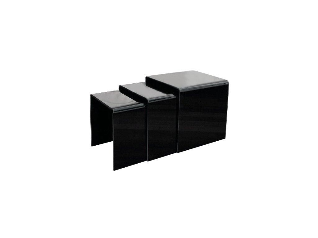 stolík sklenený PRIAM TRIO - ČIERNY SKLO LAKOVANÝ