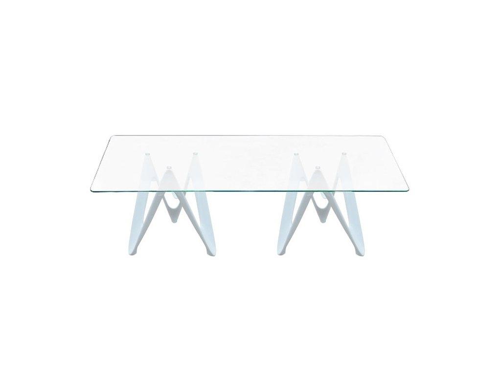 Stôl LAMBDA - doska sklenená obdĺžniková - vlákno sklenené biele
