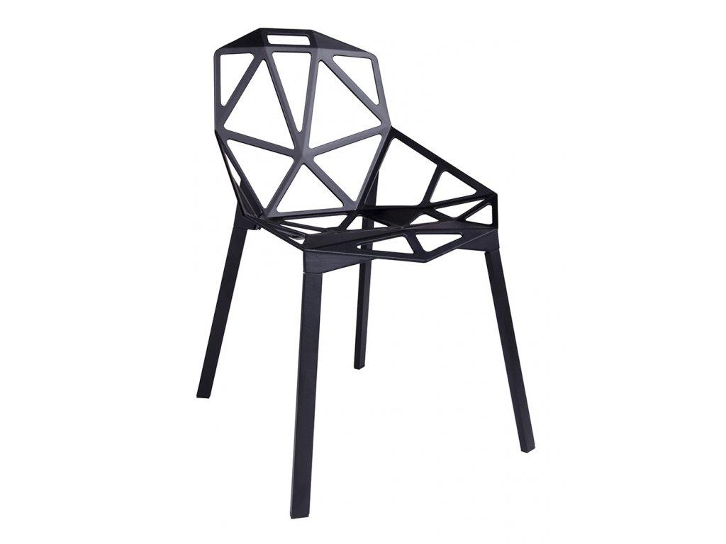 Stolička SPLIT čierna - hliník, nohy čierne