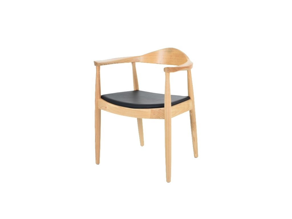 Stoličky STATE prírodné - drevo jaseň, koženka