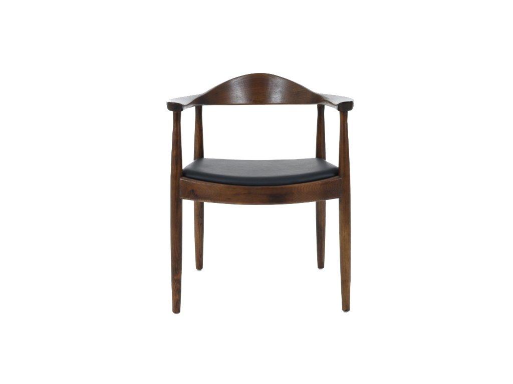 Stoličky STATE tmavo hnedá - drevo jaseň, koženka