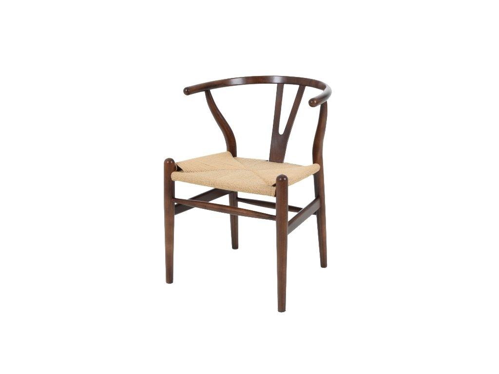 Stoličky VIDE tmavo hnedá - drevo bukové, prírodné vlákno