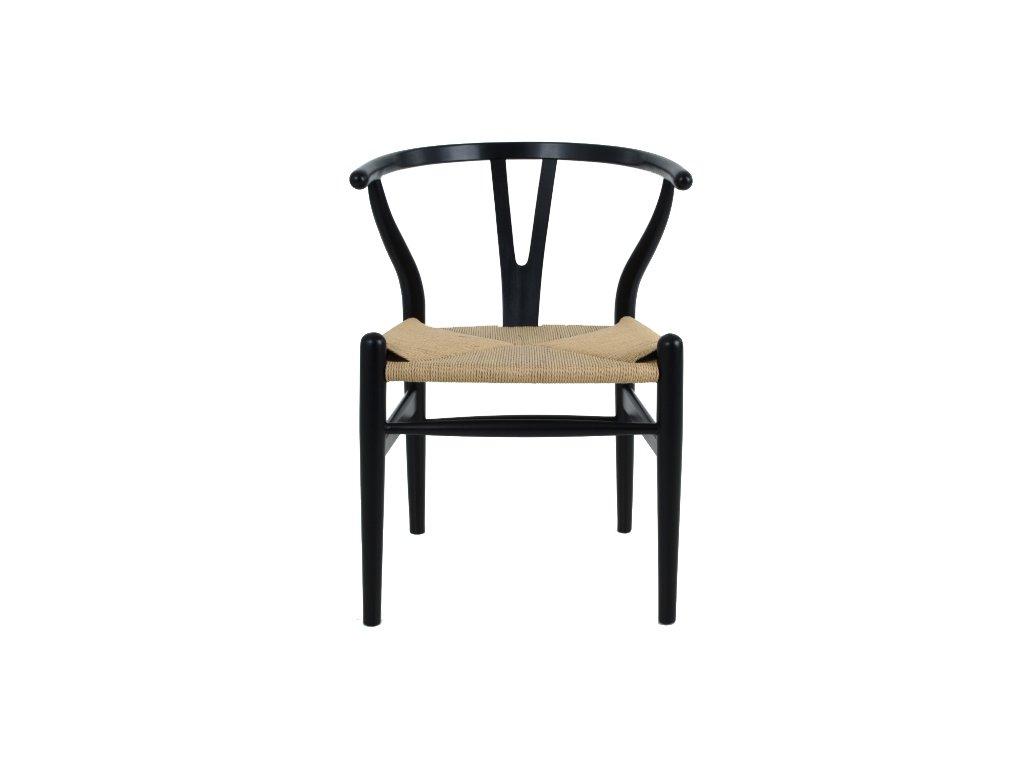 Stolička VIDE čierna - drevo bukové, prírodné vlákno
