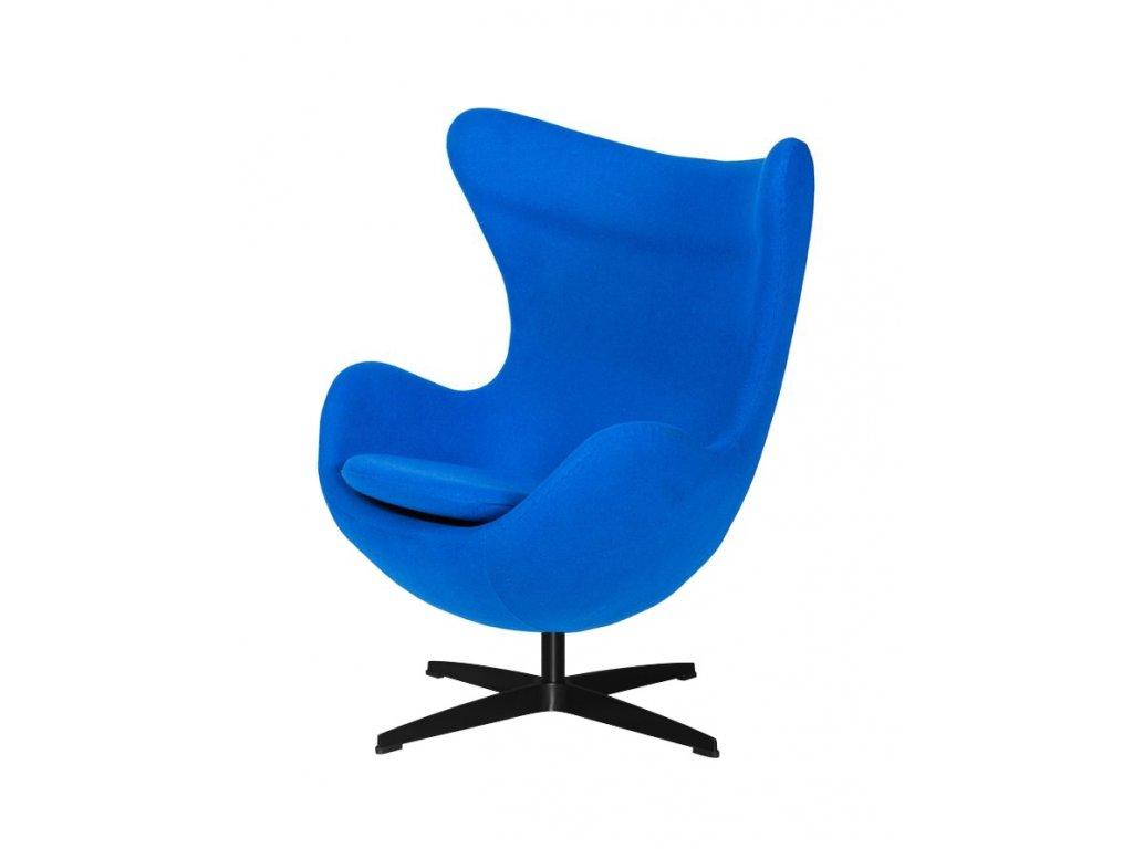 Kreslo EGG nevädzovo modré.33 - vlna, základ čierny