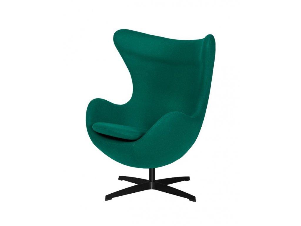 Kreslo EGG emerald zelené.41 - vlna, základ čierny