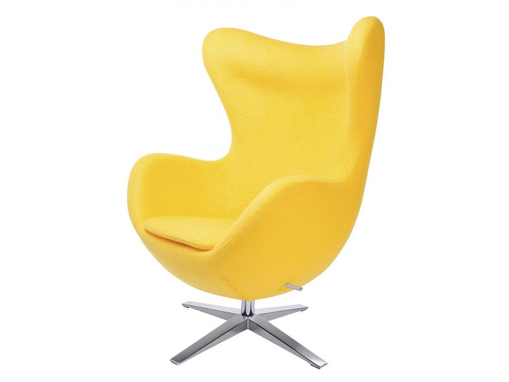 Kreslo EGG široké žluté.5 - vlna kašmírová, základ oceľ