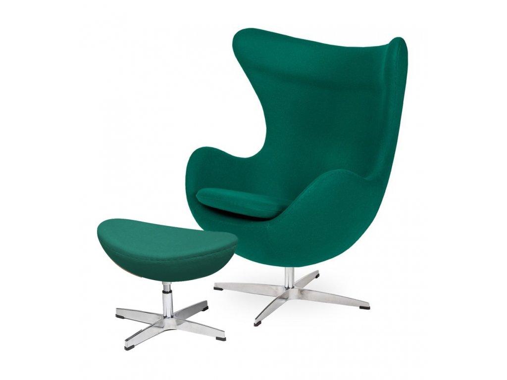 Kreslo s podnožkou EGG - emerald zelené.41