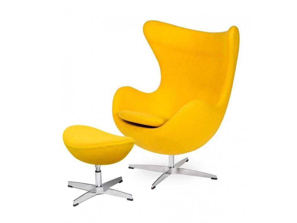 Kreslo s podnožkou EGG - slnečne žluté.36