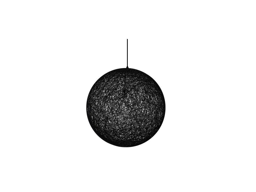 Luster - Lampa závesná LUNA 110 čierna - konopný špagát