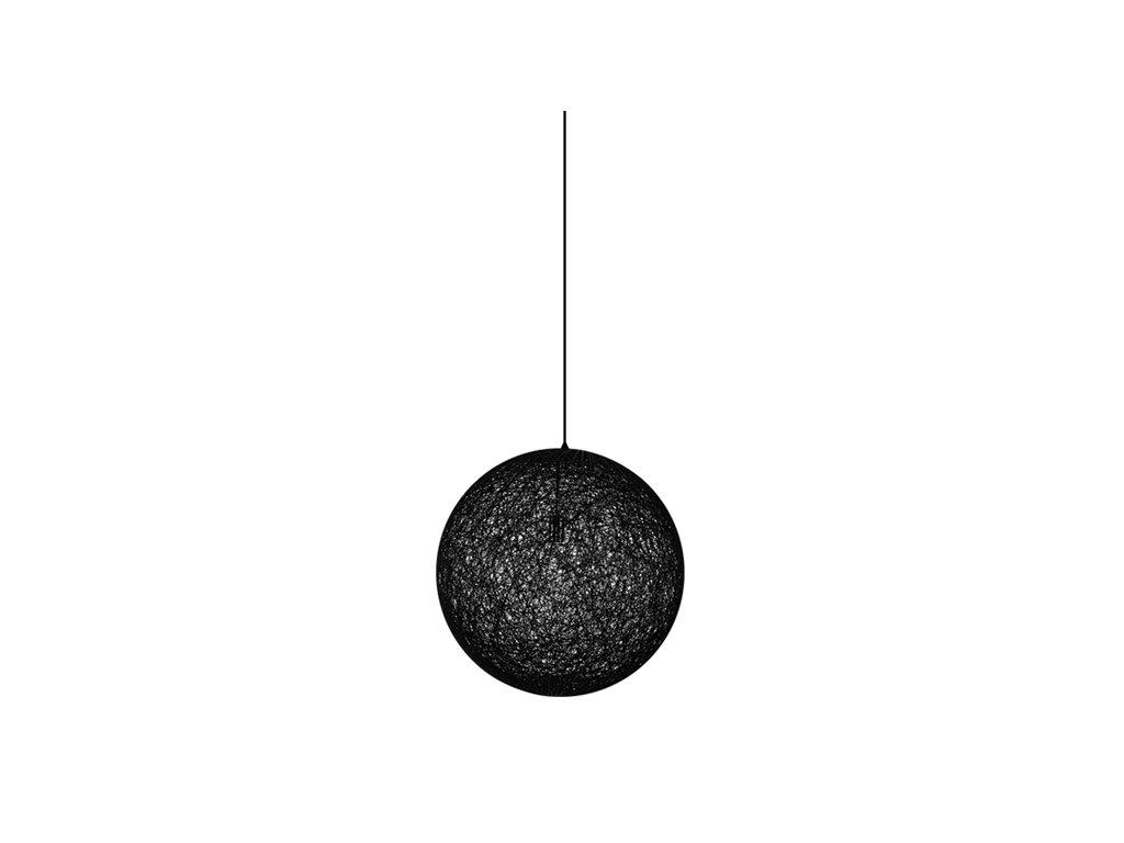 Luster - Lampa závesná LUNA 40 čierna - konopný špagát