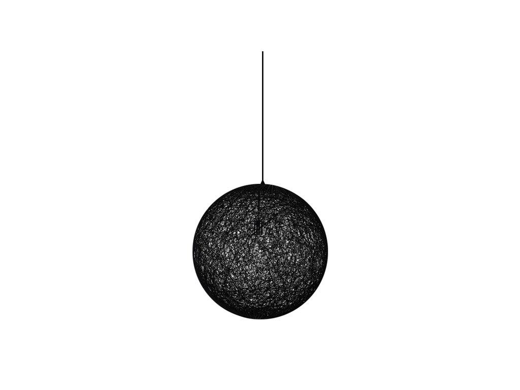 Luster - Lampa závesná LUNA 60 čierna - konopný špagát