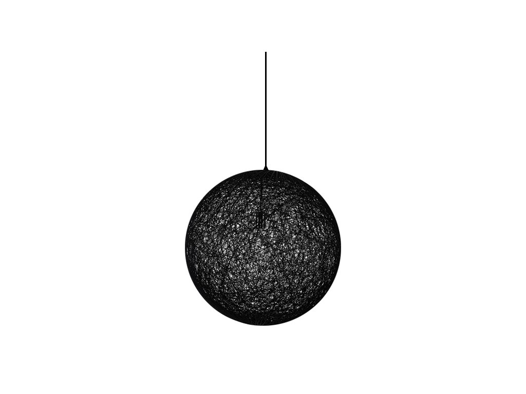 Luster - Lampa závesná LUNA 80 čierna - konopný špagát