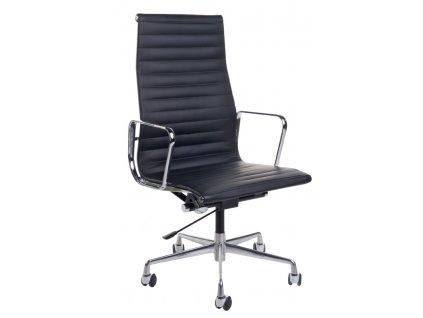 Kancelárske kreslo CH1191T čierna koža / chróm
