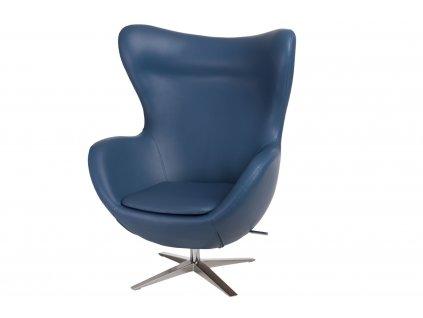 Kreslo EGG širokej ekologická koža 518 tmavo modré