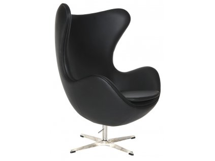 Kreslo EGG čierna koža 06 Premium