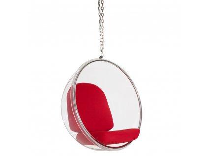 Závesné kreslo BUBBLE červený vankúš - akrylový korpus, vlnený vankúš