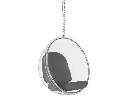 Závesné kreslo BUBBLE šedý vankúš - akrylový korpus, vlnený vankúš