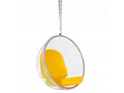 Závesné kreslo BUBBLE žltý vankúš - akrylový korpus, vlnený vankúš