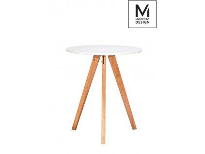 MODESTO stôl TRIPOD * 60 biely, nohy bukové
