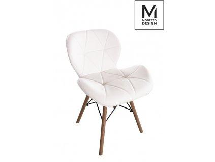 MODESTO stoličky KLIPP biela - koženka, bukový základ