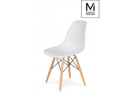 MODESTO stoličky DSW biela - bukový základ