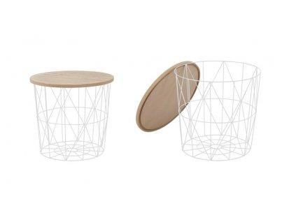 MARIFFA stolík kostra - biela, doska - prírodné