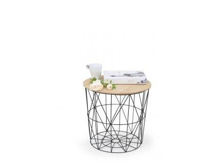 MARIFFA stolík kostra - čierna, doska - prírodné