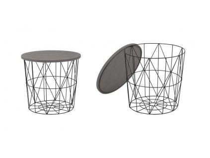 MARIFFA stolík kostra - čierna, doska - šedá