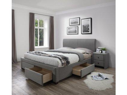 MODENA 140 cm posteľ čalúnené so zásuvkami šedá