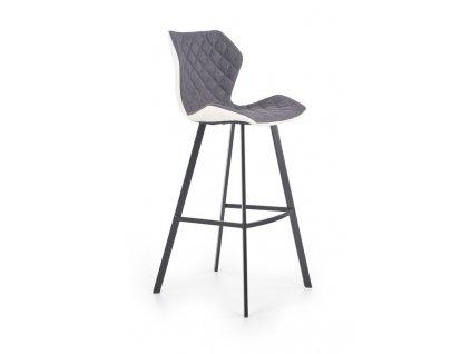 H83 barová stolička bielo / šedá