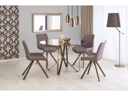 LUNGO stôl zlatý antický / hnedý